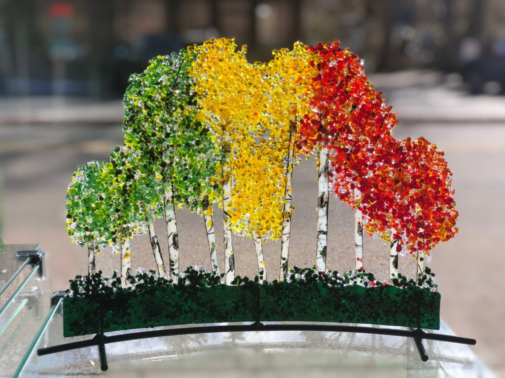 Fused Glass Aspen Tree Sculpture by Arlyss Grosz