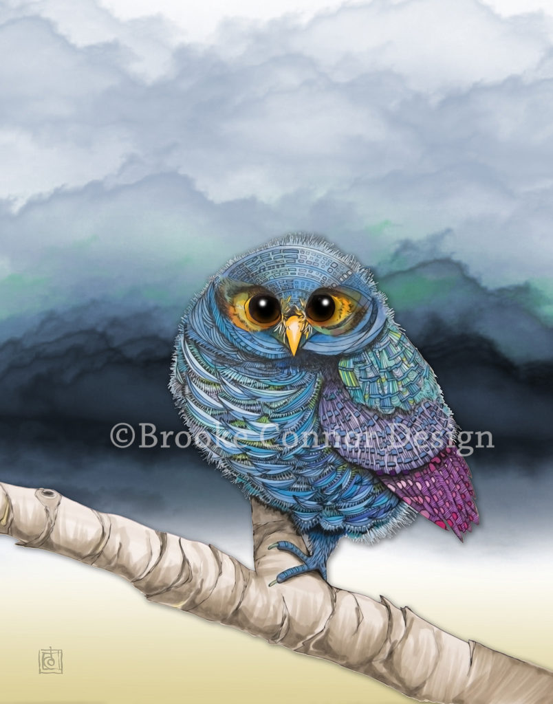 Flammulated Owl by Whimsical Animal Illustration Artist Brooke Connor
