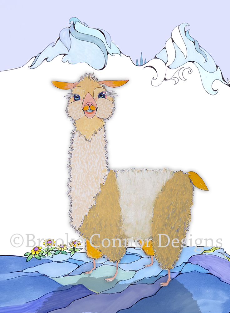 Cutie Pie Llama by Whimsical Animal Illustration Artist Brooke Connor