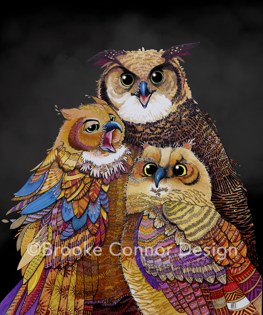 Owls by Brooke Connor Artist