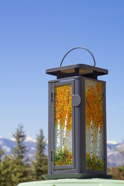 Glass Aspen Tree Lantern by Arlyss Grosz