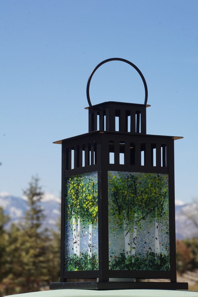 Glass Aspen Tree Sculpture Lanterns by Arlyss Grosz