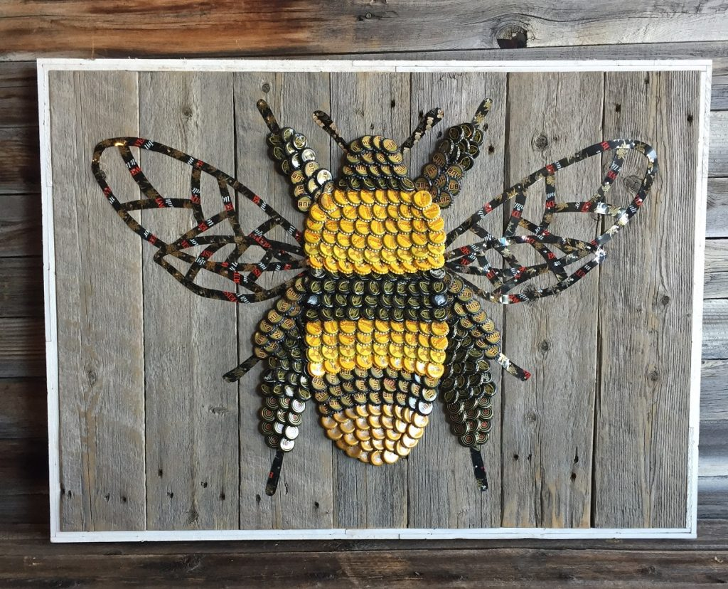 Bottle cap Art Bee by The Moore Family