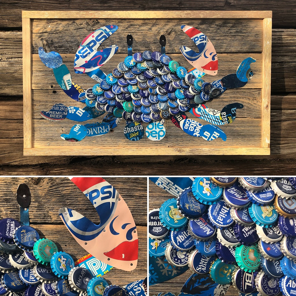 Blue Crab Bottle Cap Art by The Moore Family