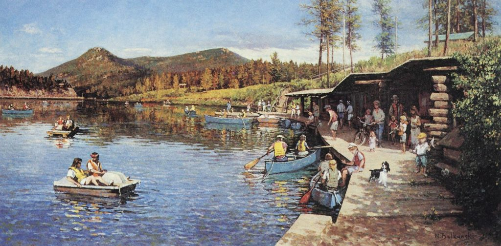 Evergreen Lake Boathouse in the Summer painting by Nikolo Balkanski