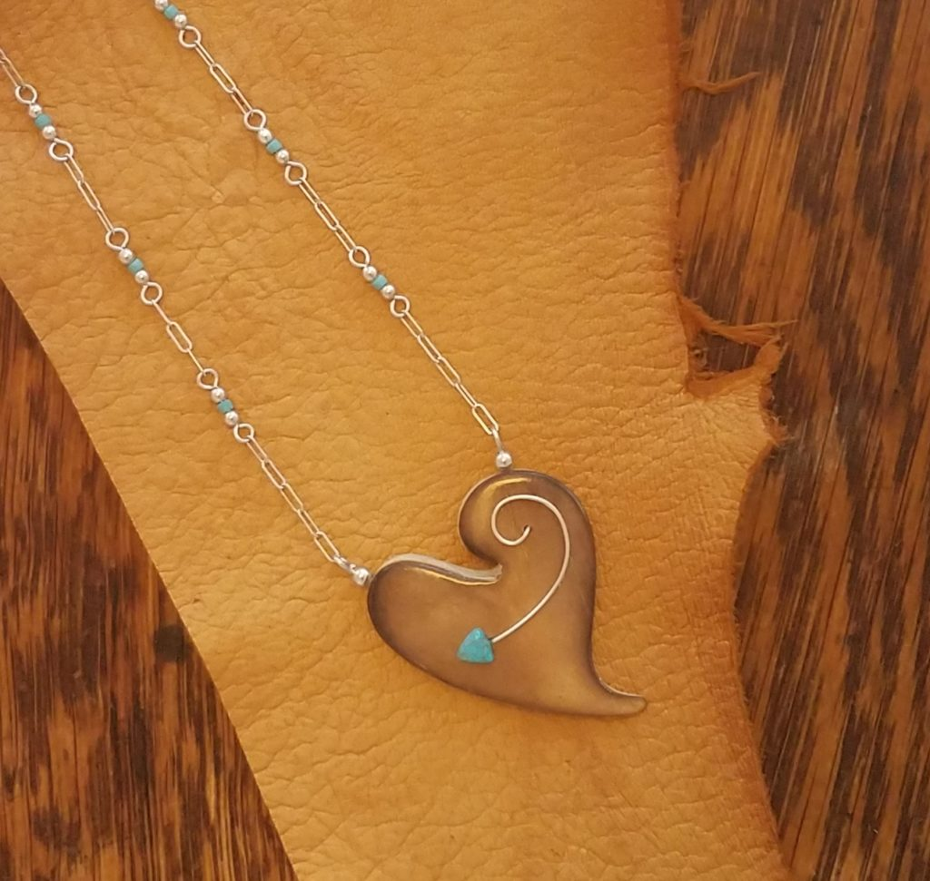 Burned Deer Antler _Heart_ Necklace with Turquoise and Sterling SIlver by Dancing Elk Designs