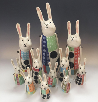 Ceramic Bunnies by Donna Eberle