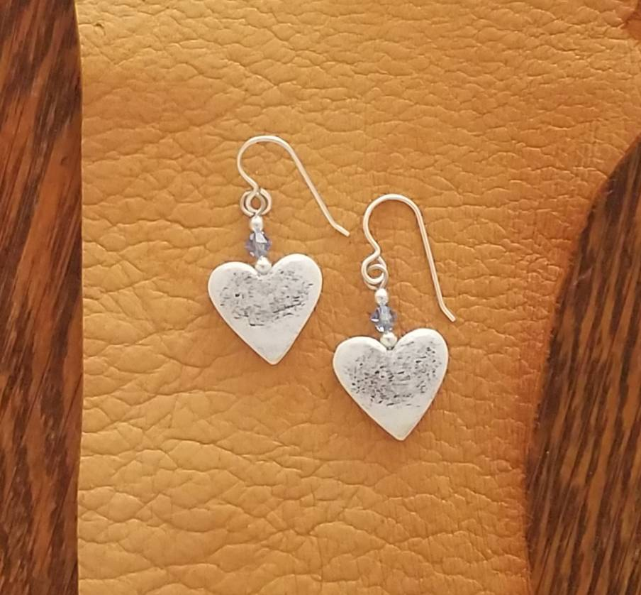 Elk Antler Heart Earrings with Swarovski Crystal and Sterling Silver by Dancing Elk Designs