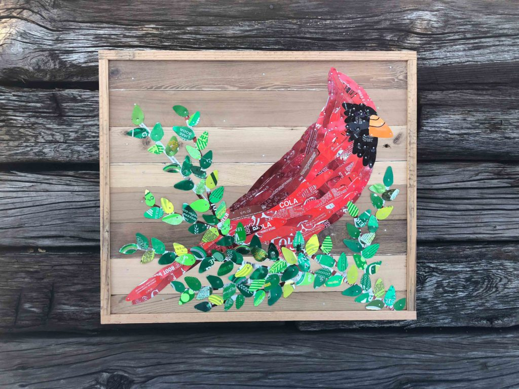 Cardinal by Moore Family Folk Art made of vintage tin cans