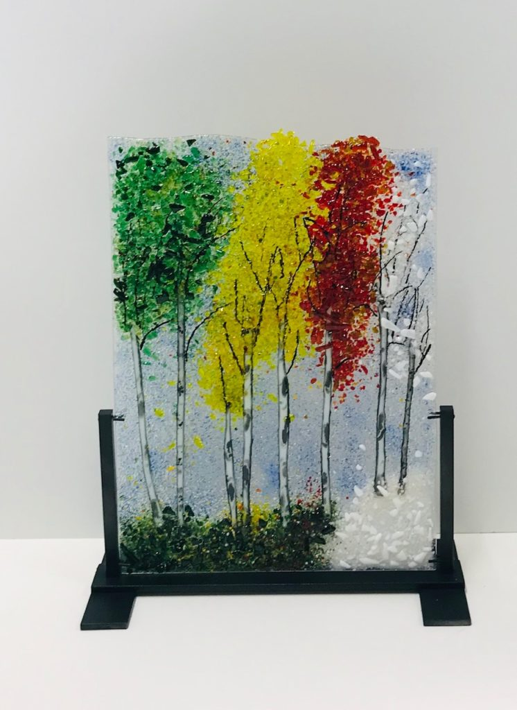 Fused Glass Aspens Sculpture by Arlyss Grosz