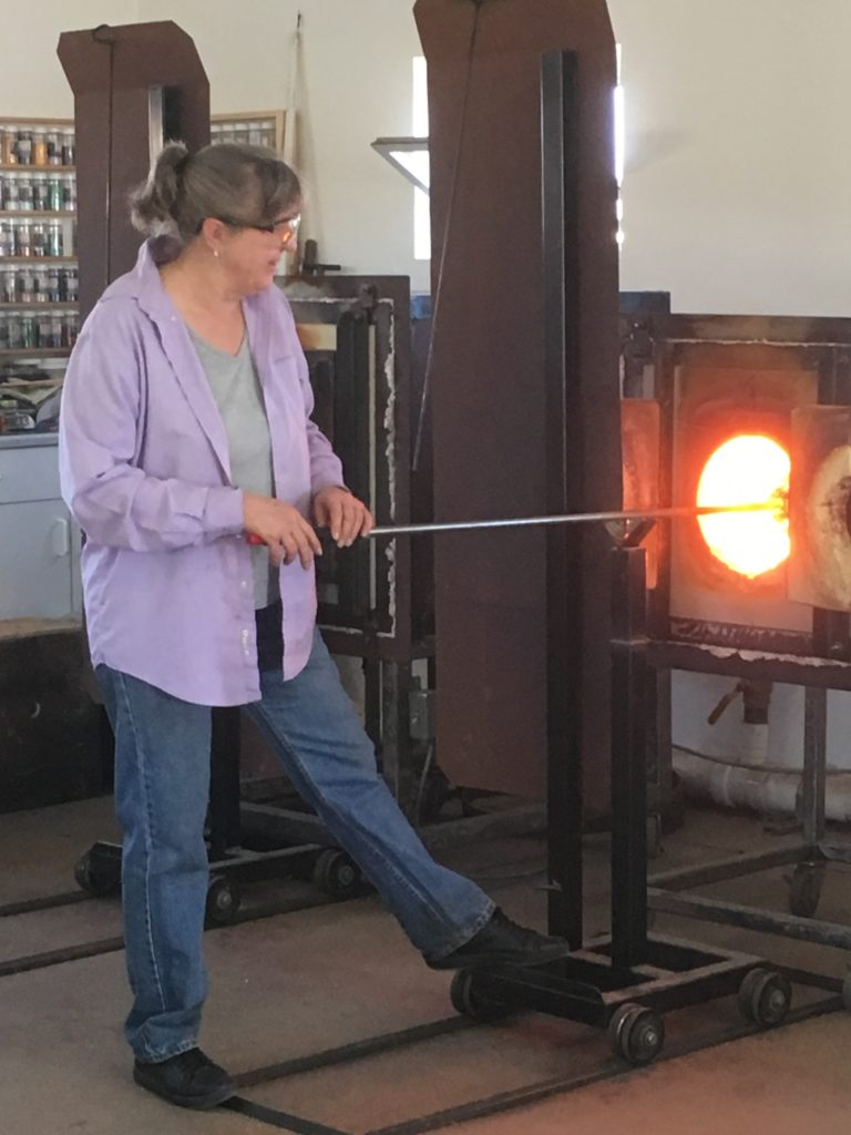 Donna Gordon in her glass studio.