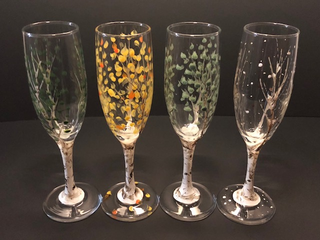Painted Glass Barware Aspen Champagne Glasses by Kevin and Janell O'Brien
