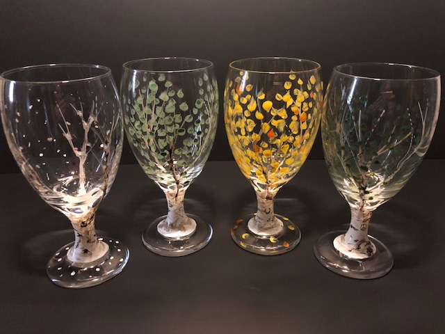 Painted Aspen Goblet Glasses by Kevin and Janell O'Brien