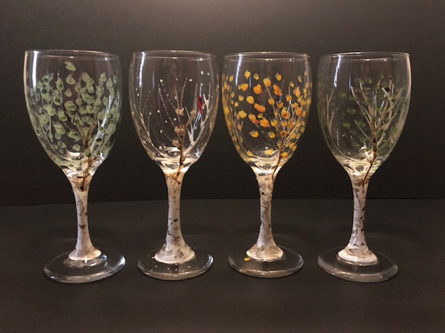 Painted Aspen Wine Glasses by Kevin and Janell O'Brien