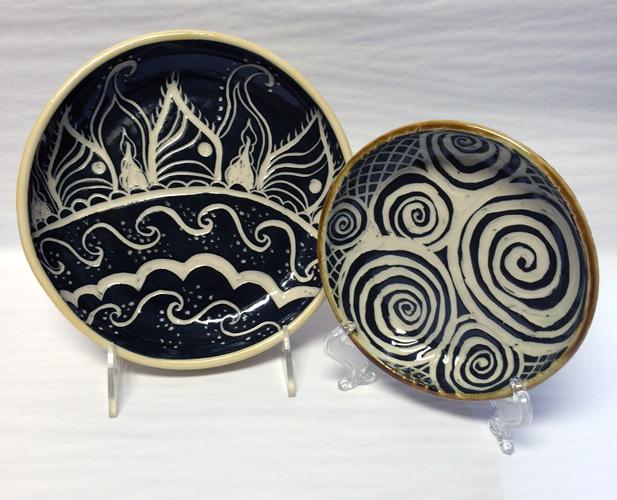 Sgraffito plates by Tanya Keith