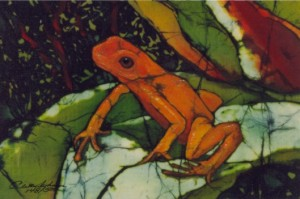 Tree Frog Batik painting by Beth Erlund Johnson