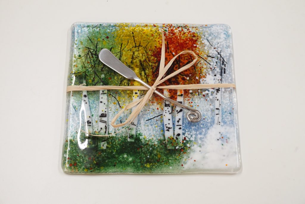 Fused Glass Art Cheese Plate by Arlyss Grosz
