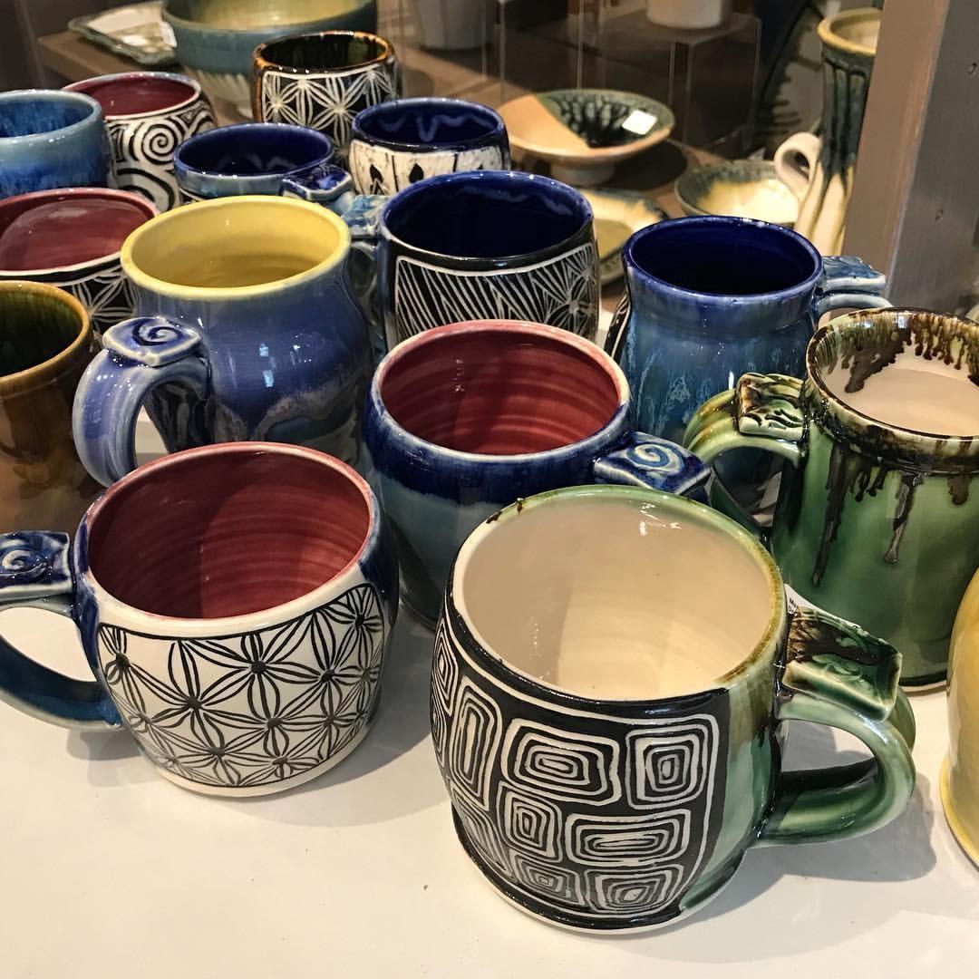 Sgraffito Mugs by Tanya Keith