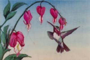 Hummingbird painting by Beth Erlund Johnson