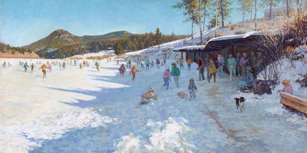 Evergreen Lake Boathouse Warming Hut in the Winter painting by Nikolo Balkanski