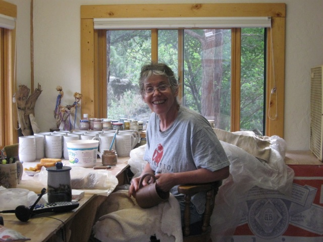 Etta Satter creating her ceramic Quote Mugs